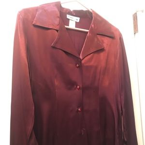 Burgundy button down blouse